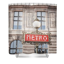 Paris Metro Sign Architecture Shower Curtain