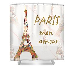 Shower Curtain featuring the painting Paris Mon Amour Mixed Media by Georgeta Blanaru