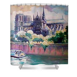 Shower Curtain featuring the painting Paris Notre Dame by Paul Weerasekera