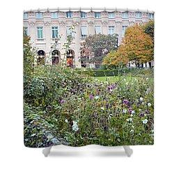 Shower Curtain featuring the photograph Paris Palais Royal Gardens - Paris Autumn Fall Gardens Palais Royal Rose Garden - Paris In Bloom by Kathy Fornal