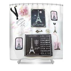 Shower Curtain featuring the photograph Paris Pink Black French Script Wall Decor Art, Paris Print Collection  - Parisian Pink Black Decor   by Kathy Fornal