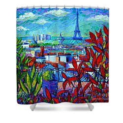Paris Rooftops - View From Printemps Terrace   Shower Curtain by Mona Edulesco