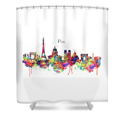 Shower Curtain featuring the mixed media Paris Skyline 2 by Marian Voicu