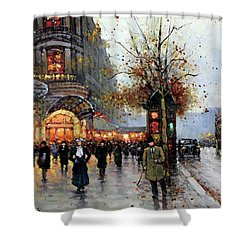 Shower Curtain featuring the painting Paris Street Scene by Edouard Cortes