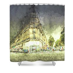 Shower Curtain featuring the mixed media Paris Streets by Jim  Hatch