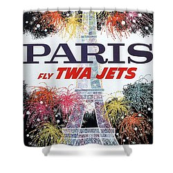 Paris - Twa Jets - Trans World Airlines - Eiffel Tower - Retro Travel Poster - Vintage Poster Shower Curtain