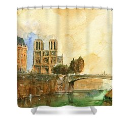 Paris Watercolor Shower Curtain by Juan  Bosco
