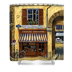 Parisian Bistro And Butcher Shop Shower Curtain by Marilyn Dunlap