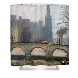 Shower Curtain featuring the painting Parisian Gray by Gary Coleman