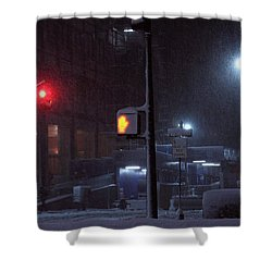 Park Avenue And E46th Street In The Late Night Snow Storm Shower Curtain