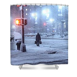 Park Avenue At E45th Near Grand Central In The Winter Storm Late Night New York On Feb 08 2013 Shower Curtain