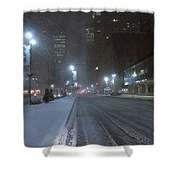 Park Avenue Near Lever Building In Snow Storm Late Night Shower Curtain