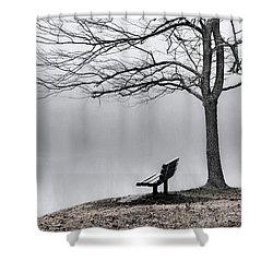 Park Bench And Leafless Tree In Fog - Hi-key Shower Curtain