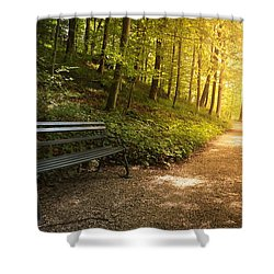 Shower Curtain featuring the photograph Park Bench In Fall by Chevy Fleet