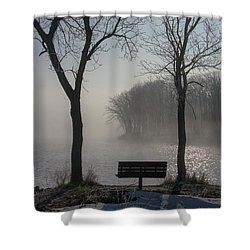 Park Bench In Morning Fog Shower Curtain