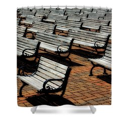 Park Benches Shower Curtain by Perry Webster