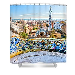 Park Guell Barcelona Shower Curtain by Luciano Mortula