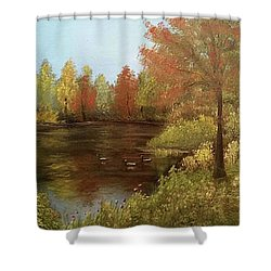 Park In Autumn Shower Curtain by Angela Stout