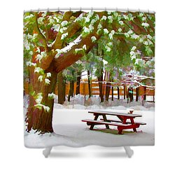 Park In Winter With Snow Shower Curtain by Lanjee Chee