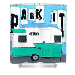 Park It-aqua Shower Curtain