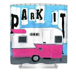 Park It- Pink Shower Curtain