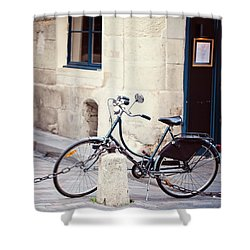 Parked In Paris - Bicycle Photography Shower Curtain by Melanie Alexandra Price