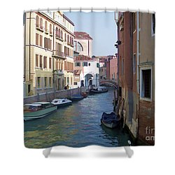 Shower Curtain featuring the photograph Parked In Venice by Roberta Byram