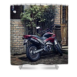 Shower Curtain featuring the photograph Parked Motorcycle by Kim Wilson