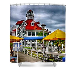 Shower Curtain featuring the photograph Parkers Lighthouse by Joseph Hollingsworth