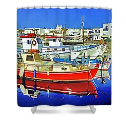 Paros Fishing Boats Shower Curtain by Dennis Cox WorldViews