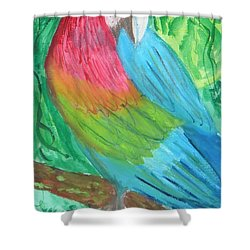 Shower Curtain featuring the painting Parrot At Sundy House by Donna Walsh