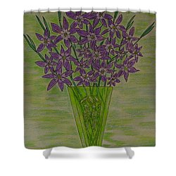 Shower Curtain featuring the painting Parrot Green Depression Glass by Kathy Marrs Chandler