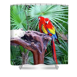 Shower Curtain featuring the digital art Parrots by Francesca Mackenney