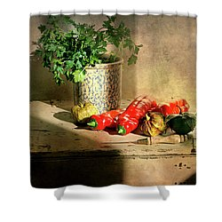 Shower Curtain featuring the photograph Parsley And Peppers by Diana Angstadt