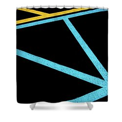 Shower Curtain featuring the photograph Partallels And Triangles In Traffic Lines Scene by Gary Slawsky