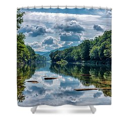 Partially Cloudy Gauley River Shower Curtain