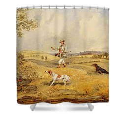 Partridge Shooting  Shower Curtain by Henry Thomas Alken
