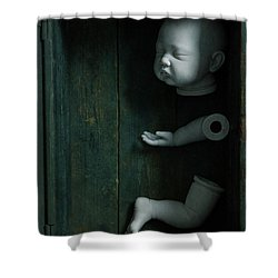 Parts Of A Plastic Doll In A Wooden Box Shower Curtain by Lee Avison