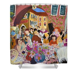 Party In The Courtyard Shower Curtain by Tatjana Krizmanic