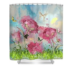 Party In The Posies Shower Curtain by Diana Boyd