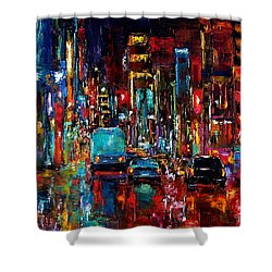 Party Of Lights Shower Curtain by Debra Hurd