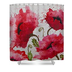 Party Poppies Shower Curtain