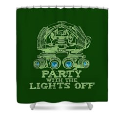 Shower Curtain featuring the mixed media Party With The Lights Off by TortureLord Art