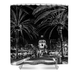 Shower Curtain featuring the photograph Pasadena City Hall After Dark In Black And White by Randall Nyhof