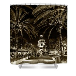 Shower Curtain featuring the photograph Pasadena City Hall After Dark In Sepia Tone by Randall Nyhof