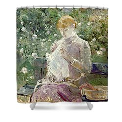 Pasie Sewing In Bougivals Garden Shower Curtain by Berthe Morisot