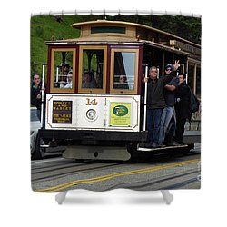 Passenger Waves From A Cable Car Shower Curtain