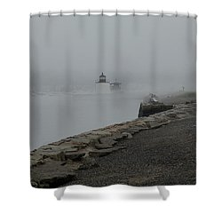 Shower Curtain featuring the photograph Passing In The Fog by Jeff Folger