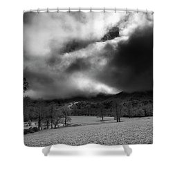 Shower Curtain featuring the photograph Passing Snow In North Carolina In Black And White by Greg Mimbs