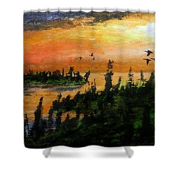 Passing The Rugged Shore Shower Curtain by R Kyllo